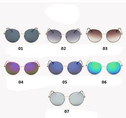 Wholesale Best fashion unisex adult Anti UV summer beach Mirror sunglasses round lens metal frame outdoor sports car driving sunglasses brands