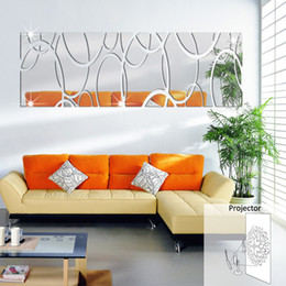 Wholesale Long rectangular wall stickers home decoration D three dimensional crystal decorative mirror decals new European and American fashion