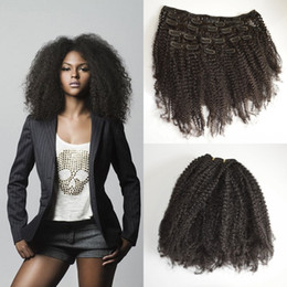 Wholesale 8A C A B C Afro Kinky Curly Clip In Human Hair Extensions Brazilian African American Clip In Hair Extensions Clip Ins
