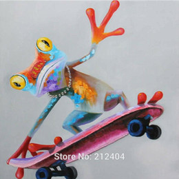 Framed Cool Skateboard Frog High Quality genuine Hand Painted Wall Decor Animal Art Oil Painting On Quality Canvas Multi sizes Available