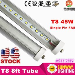2016 FA8 single pin 45W led t8 tube bulb lights 8ft 2.4m 90-265V led fluorescent bulb frosted clear cover free shipping