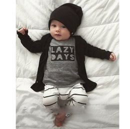 Children Clothing Gray Long Sleeved T-shirt Black and White Striped Trouser 100%Cotton Children Suits Boy Set Kids Costumes Child Garment