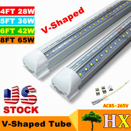 Wholesale US Stock Integrated Led Tubes V Shaped ft ft ft ft Cooler Door Led Tubes T8 Double Sides SMD2835 Led Fluorescent Lights AC V