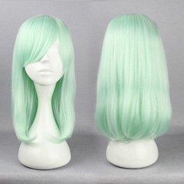 Pelo largo corte de pelo en Línea-Anime Harajuku Lolita cosplay pelucas 45 cm de largo pelo recto corte de pelo luz verde cosplay peluca moda peinados