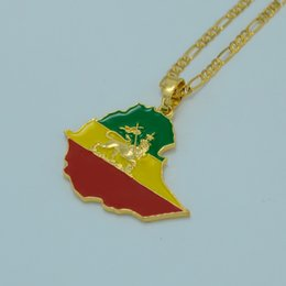 Wholesale Ethiopian Flag Lion Map Pendant Necklace for Women Men Gold Plated Silver Jewelry Country Ethiopia Map Chain Jewellery