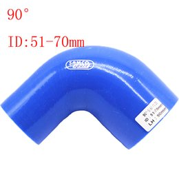 """Blue Universal ID:51mm-70mm ID:2""""-2.76"""" Silicone 90 Degree Elbow Reducer Turbo Pipe Hose Air Intake Pipe Intercooler silicone pipe Universal"""
