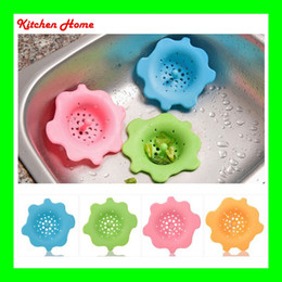 Wholesale 100 Silicone Kitchen Wash Sink Strainer Filter Cover Round Flower Design Anti sliding Stopper Bathroom Gully Drain With Easy Handle