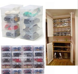 Wholesale 2016 High Quality Foldable Plastic Shoe Storage Case Boxes Stackable Organizer Shoe Holder Easy DIY BB