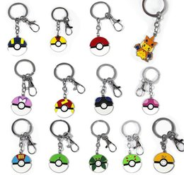 Wholesale 2016 hot game Pokeball Keychains Cartoon Pikachu Poke Ball Keychain Alloy Pendant Hot Poke Anime Collection