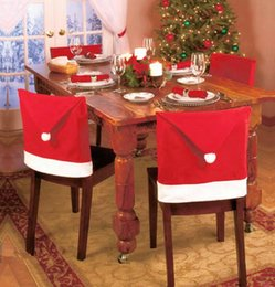 Wholesale 10pcx best price Christmas Decorations Home Party Holiday Santa Claus Hat Chair Covers Dinner Chair Cap Sets
