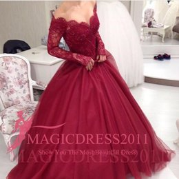 Burgundy Mermaid Evening Dresses A-Line Long Sleeve Sheer Neck Jewel Appliques Puffy Skirt Floor-length Party Prom Formal Gowns