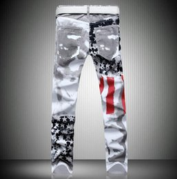 HOT 2016 Men's Flag White Jeans Painting Color Printing Flowers Cotton Stretch Straight Denim Overalls Men Plus Size 44 46