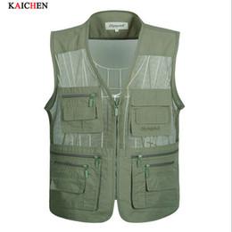 Promotion voler v Vêtements Automne-New Fly Vest Qualité Vêtements de plein air / Vestes Caméra Waistcoat Mulit-poche pour Sea gilet