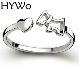 HYWo Silver plated heart-shaped female models love fashion cute horse ring opening vintage jewelry fit pandora rings factory wholesale