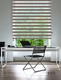 Custom Made Shade Translucent Roller Zebra Blinds in Beige Curtains for Living Room 7 Colors Are Available G15-001