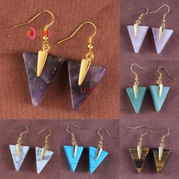Wholesale 10Pcs Simple Style Triangle Shape Multi Colorful Quartz Stone Gold Plated Dangle Hook Earring Charm Jewelry