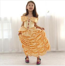 Wholesale New Kids Girl Beauty and beast cosplay carnival costume kids belle princess dress for Christmas Halloween fantasia infantil