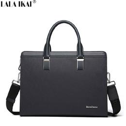 Wholesale LALA IKAI Best Mens Briefcase Waterproof Leather Office Bag for Man Luxury Male Business Bag Men Handbags Laptop BMC0027