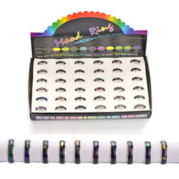Wholesale 100pcs Stainless steel Rings mix size mood ring changes color to your temperature reveal your inner emotion