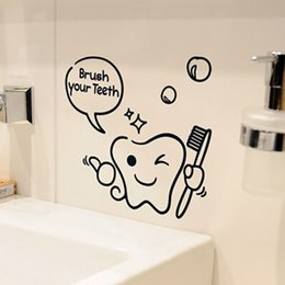 Wholesale Carton Wall Stickers - Children carton brush one 's teeth bath room decoration sticker glass mirror decorative stickers wall sticker