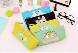 wholesale Korean cute pencil bags PU cartoon zipper pencil case bags school supplies girls cosmetic bags kids gift