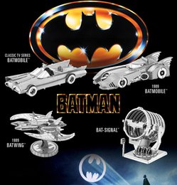 Wholesale Chinese EARTH ICONX D Metal Model Nano Puzzles BATMAN SUPPER MAN styles BAT SIGNAL DAWN OF JUSTICE BATMOBILE