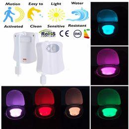 Wholesale Led Motion Sensor Toilet Night Light Colors Change Toilet Bowl Light Toilet Bowl Lid Bathroom human body auto sensing night light