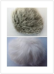 Free shipping pet products natural cat toy real rabbit fur ball no dyed pet toy white grey 5CM dia 50pcs lot