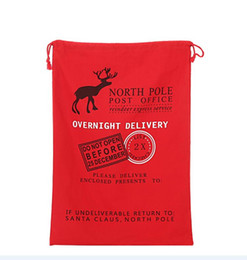 Wholesale 10pcs Christmas Large Canvas Monogrammable Santa Claus Drawstring Bag With Reindeers Monogramable Christmas Gifts Sack Bags Stock in USA