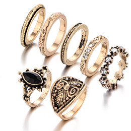 Retro style carve patterns midi rings gemstone 7 pieces set Austrian diamond ring top quality factory price free shipping