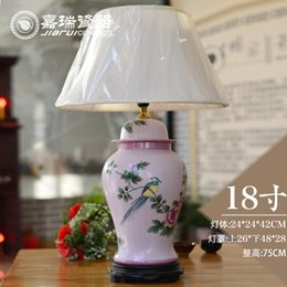 Wholesale Antique Chinese decorative Bedside Table lamp ceramic Bedroom Table lamps Reading lamps