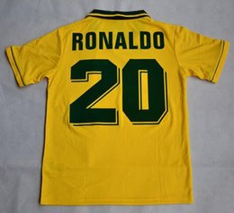 Velvet name number!Retro jersey Brazil 1994 World cup Brasil Ronaldo  Romario Jerseys shirt