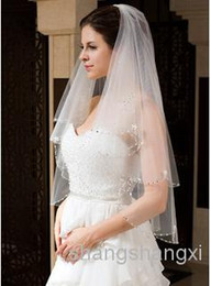 Wholesale New Bridal Veil Two Layers Elbow Length Beaded Edge Best Selling Cheap Gorgeous Wedding Veils