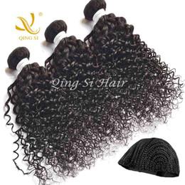 Acheter en ligne Le tressage des cheveux 12 pouces-3bundles cheveux Virgin Brazilian Curly Human Bundles Cheveux / mis 10 pouces à 26 pouces de couleur naturelle avec Tressé gratuit Cap Free Ship