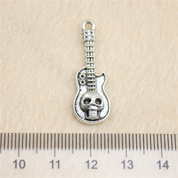 30Pcs 32*11mm antique Silver Toneskull guitar Charms Zinc Alloy DIY Handmade Jewelry Pendants Wholesale