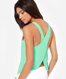 Sexy Women Cross Vest halter Chiffon Camisole Tops Candy Color Fashion Lady Shirts High Quality New Design