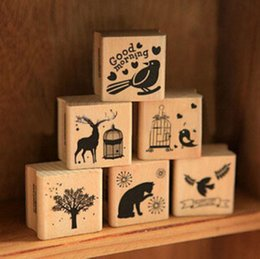 Wholesale-New Vintage Animal Series Wood Scrapbooking Stamp Wholesale Stamping Gift 6 Designs Label Indexes & Stamps H0910