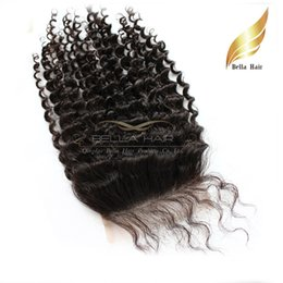 Cheap Remy Human Hair Kinky Curly Extensions Lace Closure Curly Indian Virgin Hair Top Closures (4x4) Free Shipping Natural Color Bellahair