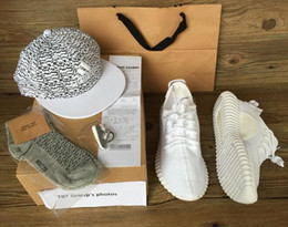 Wholesale NEW TOP best boost Beluga White Kanye West milan Running Sports Shoes mens womens Sneakers hat Keychain Socks Bag Receipt Boxes