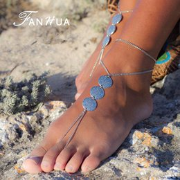 Wholesale 2016 New Antique Silver Plated Round Flower Charm Chain Anklets Beach Barefoot Sandals Foot Jewelry Boho Chic Anklets For Women