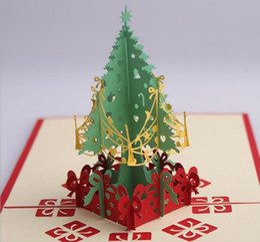 10pcs Christmas Tree Handmade Kirigami Origami 3D Pop UP Greeting Cards Invitation Postcard For Birthday Christmas Party Gift
