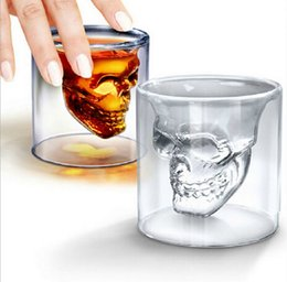 Wholesale 2016 hot sales ML Crystal Skull Head Bone Vodka Whiskey Glass Beer Drink Drinking Bottle Decanter Cup Home Bar Party Barware
