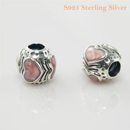 PINK BOUDOIR CHARM DIY Beads Real Solid 925 Sterling Silver Not Plated Fits Original Pandora Bracelets & Bangles & Necklaces