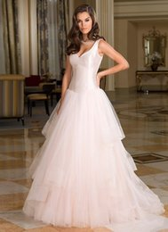 A-line Wedding Dresses Satin with Tulle V-neck Sleeveless Tiers Sweep Train Zipper Formal Bridal Dress Gowns Pretty