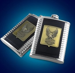 Wholesale oz Stainless Steel Hip Flask Liquor Whiskey Flagon Alloy Motorcycle Decor Sign Cups Funnel in Gift Box BS EAGLE B