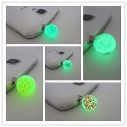 Wholesale Colorful Round Rhinestone Luminous Mobile Phones Earphone Plug Anti Dust Plug mm Universal Dust Plug iPhone s Headphone Jack Dust Plug