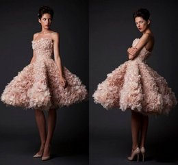 Krikor Jabotian 2016 Evening Dresses Ruffles Organza Strapless Short Prom Dresses Knee Length Party Gown Celebrity Homecoming Dresses