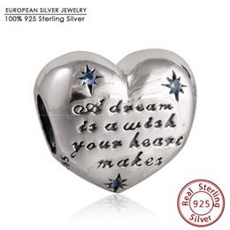 Wholesale Cinderella Heart Charms Fits Brand Bracelets Original Sterling Silver Blue CZ Alphabet Heart Charm Diy Spring Jewelry