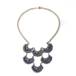 Wholesale Dark Blue Connect Fans Pendant Chain Necklace Jewlery Fashion Necklaces for Women Fashion jewelry made in china made in china