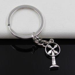 diamètre de 30mm Mode Métal Porte-clés Key Bijoux chaîne porte-clés Argent Antique Plaqué ventilateur électrique 13 * Pendentif 26mm à partir de ventilateurs électriques anciennes fabricateur